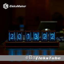 Tube Rétro Horloge Numérique Nixie Horloge Kit 6 Tubes Digit Date De Rgb Led Glow Clock