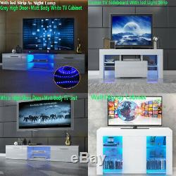Tv Cabinet Unité Support Placard Enfilade Matt Body & High Gloss Portes Lumières Led