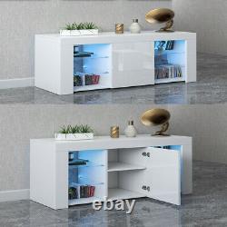 Tv Unit Cabinet Stand Sideboard Armoire Matt Body & High Gloss Doors Led Light