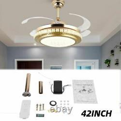 Ventilateur De Plafond Avec Télécommande De Lumière Changement De Couleur Lampe Led Dimmable 36w Minuterie