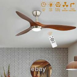 Ventilateur De Plafond De 52 Pouces Avec Lumière Led Variable 3 Lames À Distance Minuteur De Contrôle 5 Vitesse