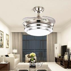 Ventilateur De Plafond Led 42 Pouces Avec Lumières Changeantes 3 Couleurs Et Télécommande 4 Lames