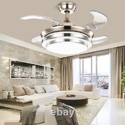Ventilateur De Plafond Led 65w 42 Pouces Avec Lumières Changeantes 3 Couleurs Et Télécommande