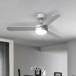 Ventilateur De Plafond Led Dimmable Avec Minuteur De Télécommande 3 Lames Acryliques 42inch