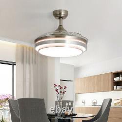 Ventilateur De Plafond Led Silencieux De 42 Pouces Avec Lumières Changeantes De 3 Couleurs À Distance Et Minuterie
