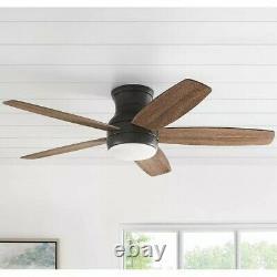 Ventilateur De Plafond Noir Mat De 52 Pouces De Couleur Changeante Avec Lumière Et Télécommande