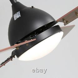 Vintage Lames En Bois Ventilateur De Plafond Lumière Télécommande 3 Couleur Led/3 Vitesse / Minuterie