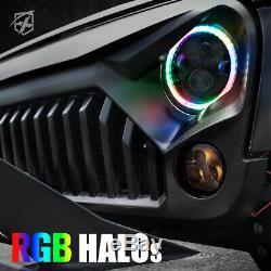 Xprite 7 90w Cree Phares À Led Avec Rgb Chasing Halo Pour 97-18 Jeep Wrangler